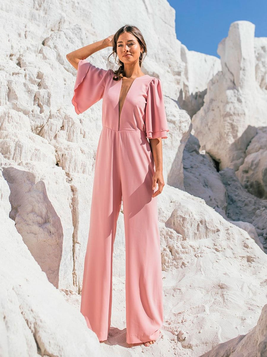 Vestido azul, bolso rosa y nubes Rebuscando en el Armario
