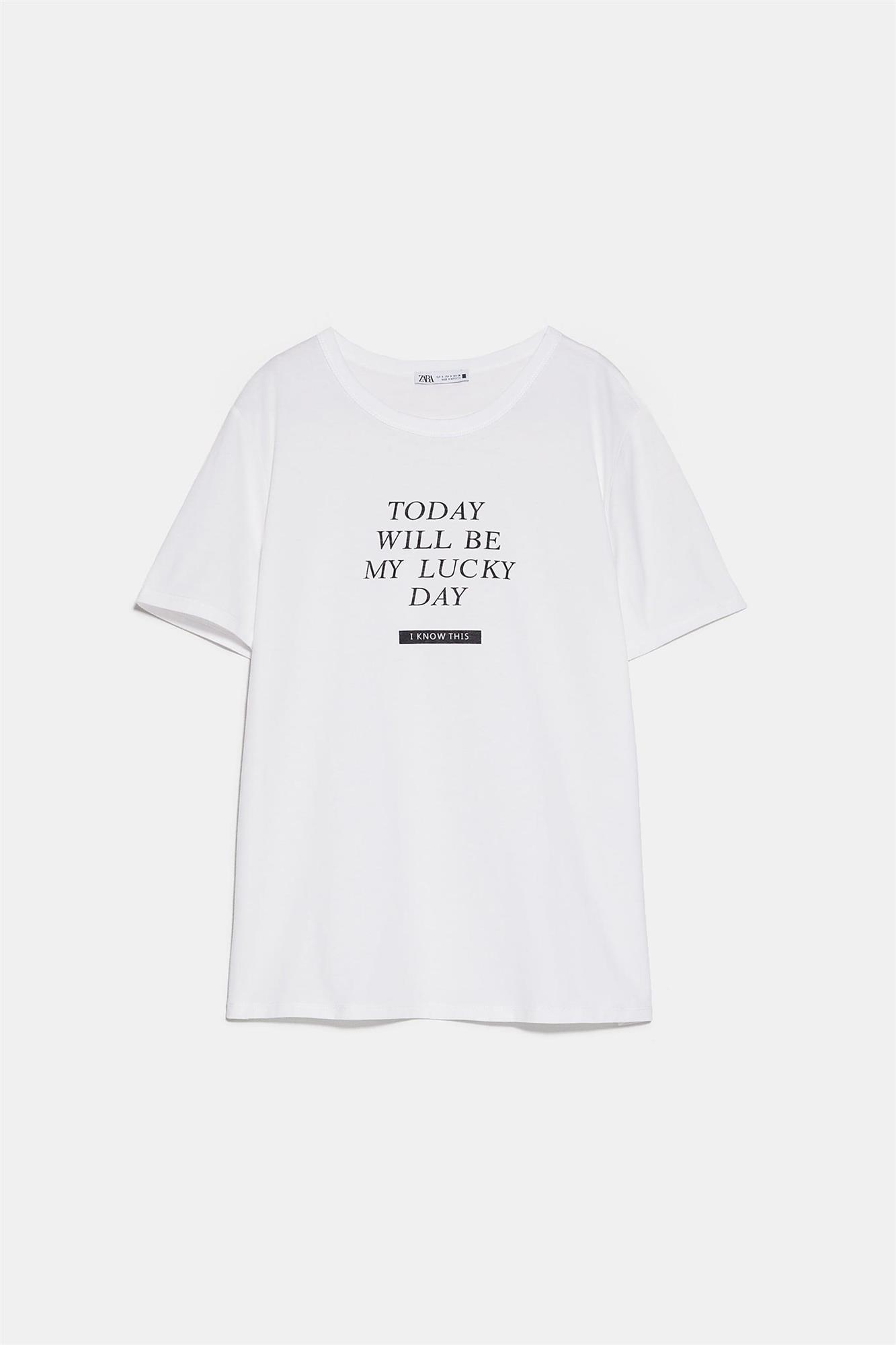 "Camiseta con mensaje ""Today will be my lucky day"" de Zara"