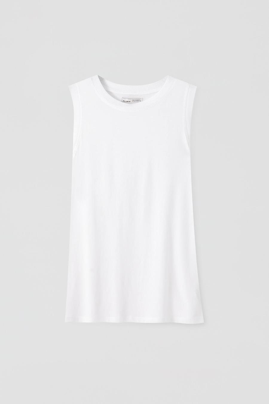 camiseta blanca pull and bear