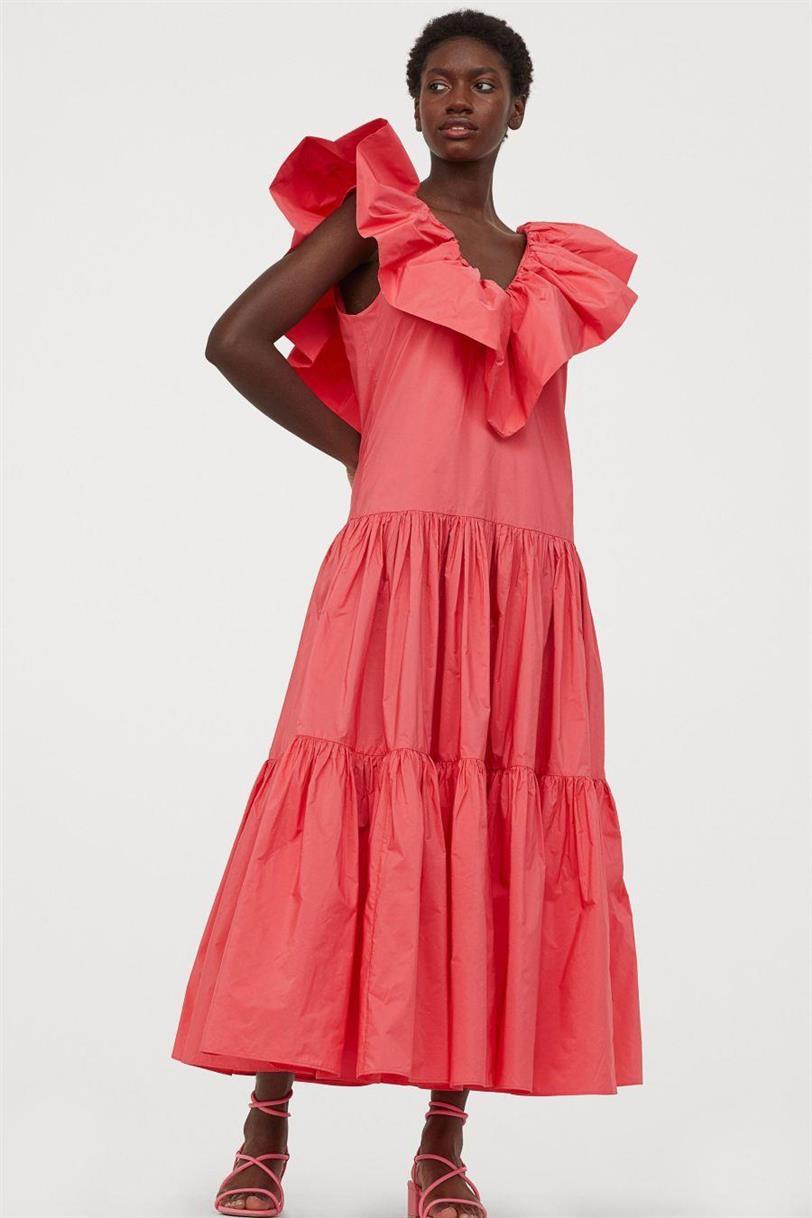 vestido tafetan coral hm