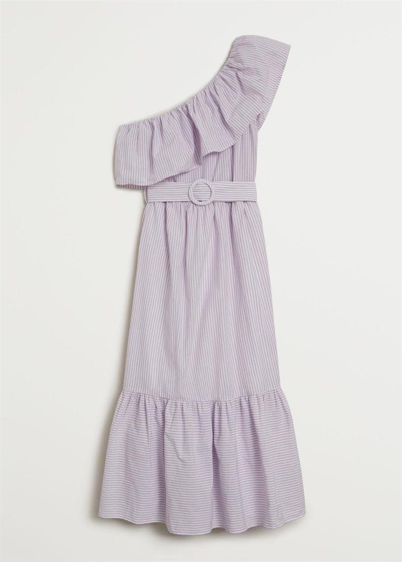 vestido asimétrico volante mango