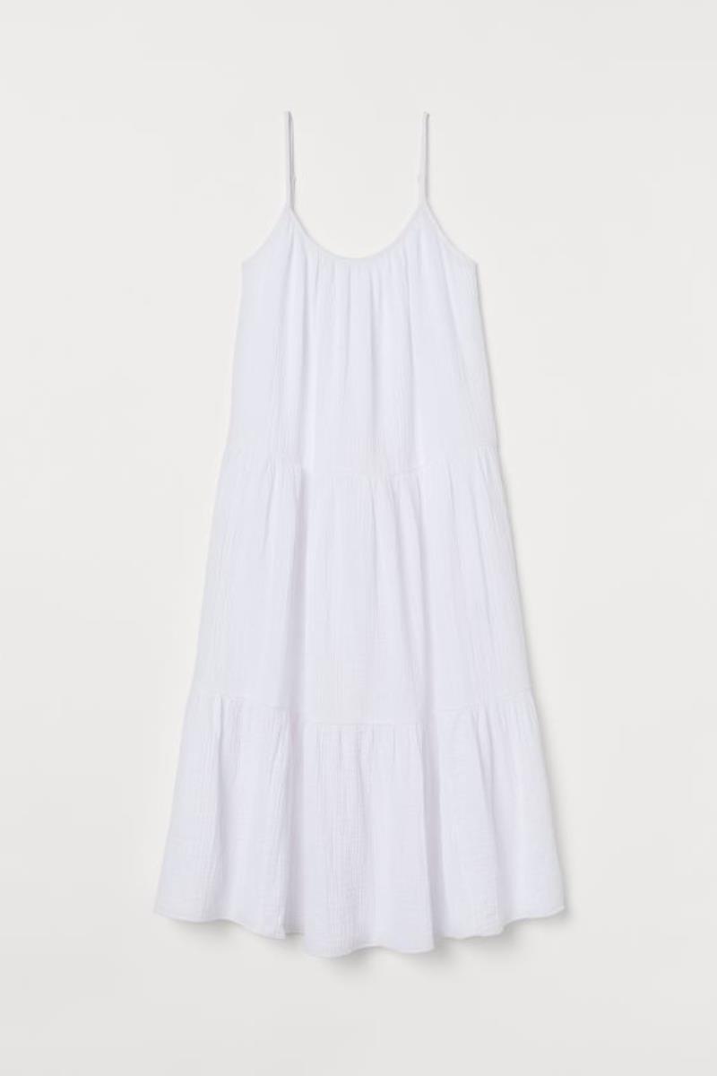 hm vestido blanco arrugado