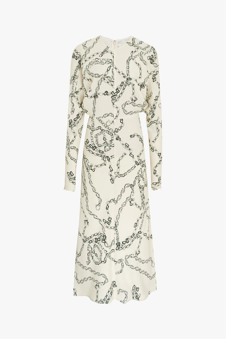 Vestido con estampado de cadenas de Victoria Beckham