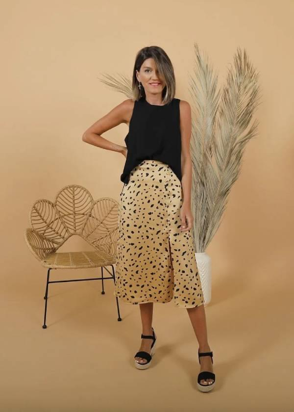 Falda midi con print animal, The Desire Shop