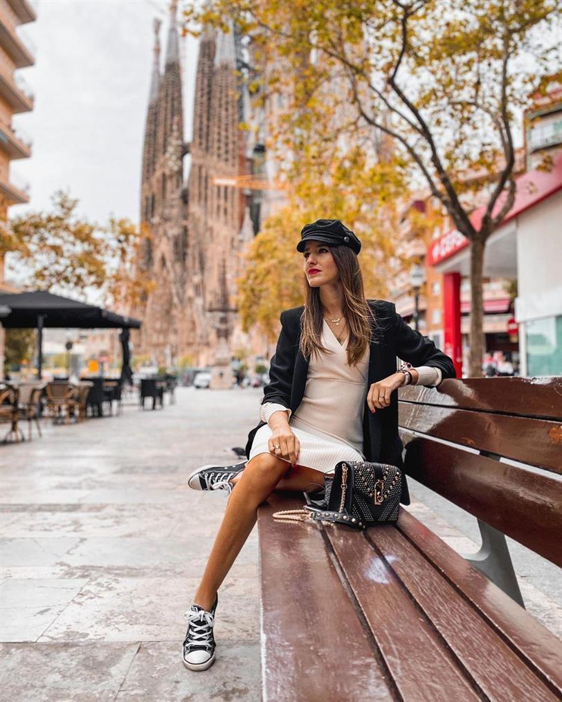 Sandra Majada con vestido de punto de Zara