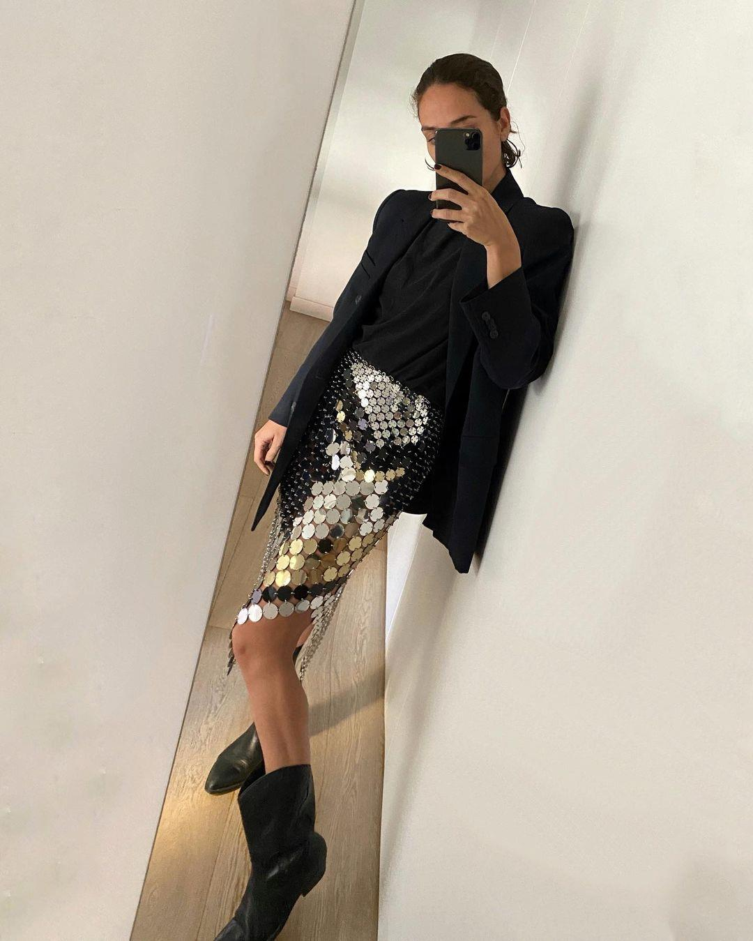 Erika Boldrin with sequin skirt