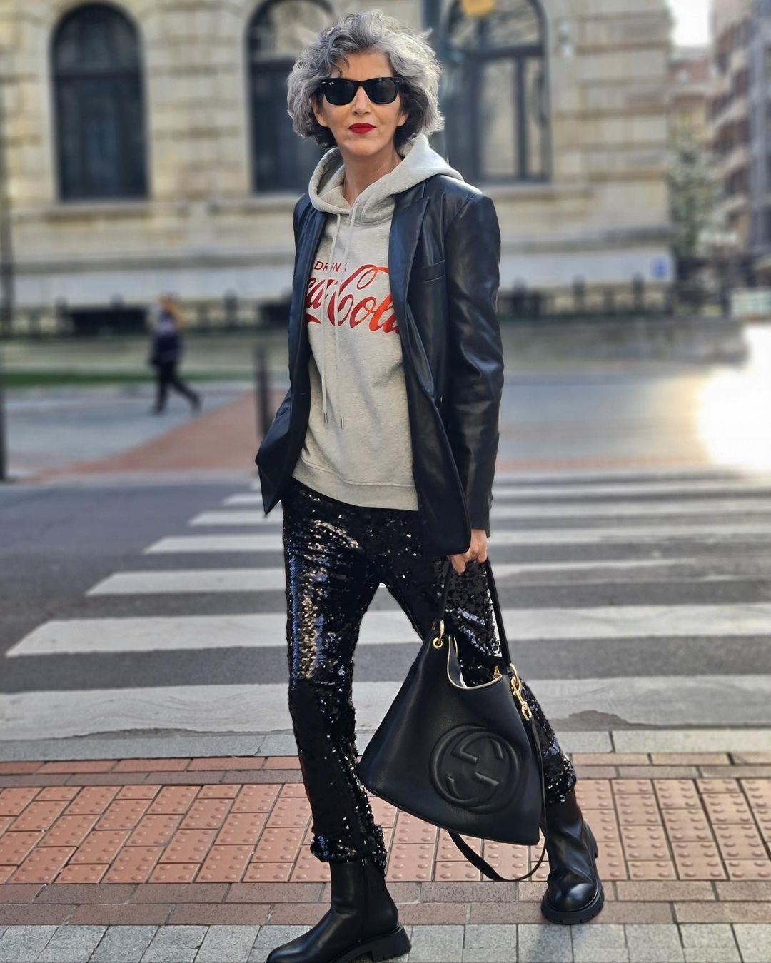 Carmen Gimeno2. Carmen Gimeno's look with sequin pants