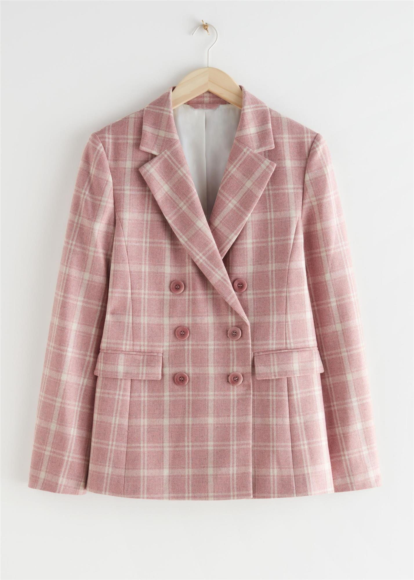 Blazer rosa con estampado de cuadros de & Other Stories